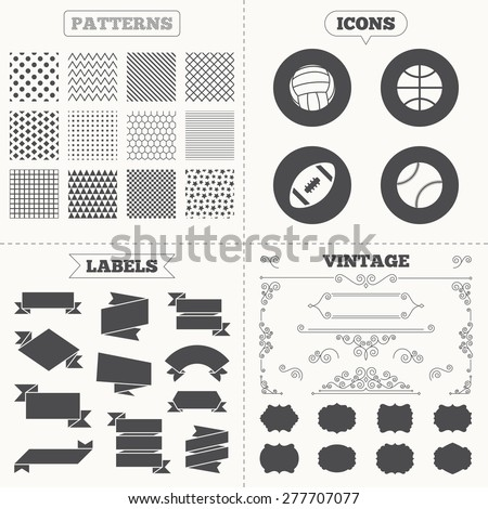 Seamless patterns. Sale tags labels. Sport balls icons. Volleyball, Basketball, Baseball and American football signs. Team sport games. Vintage decoration. Vector
