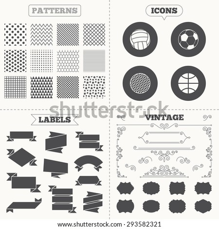 Seamless patterns. Sale tags labels. Sport balls icons. Volleyball, Basketball, Soccer and Golf signs. Team sport games. Vintage decoration. Vector