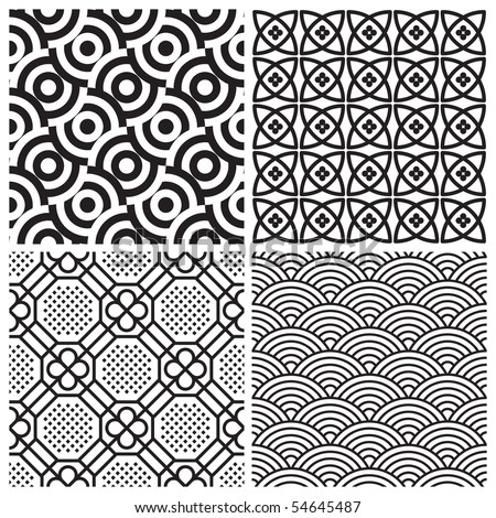 seamless patterns set, vector