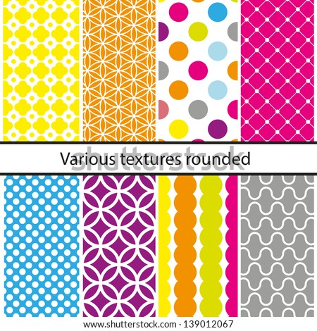 Seamless patterns set, vector backgrounds collection.