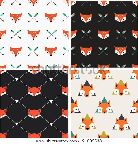 Seamless patterns set with cute foxes