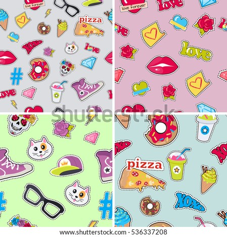 Seamless patterns set with patch objects for teens. Cap, sport footwear, pizza, bitten doughnut, cat, human skull with flower