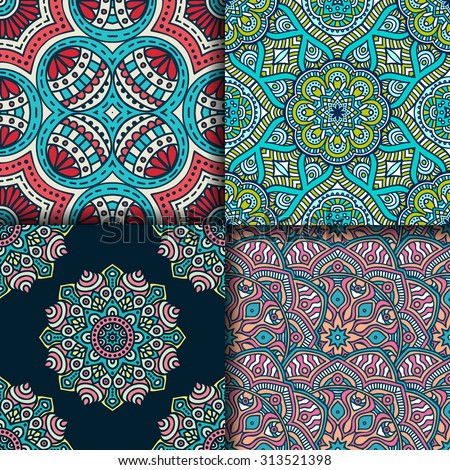 Seamless patterns. Vintage decorative elements. Hand drawn background. Islam, Arabic, Indian, ottoman motifs.