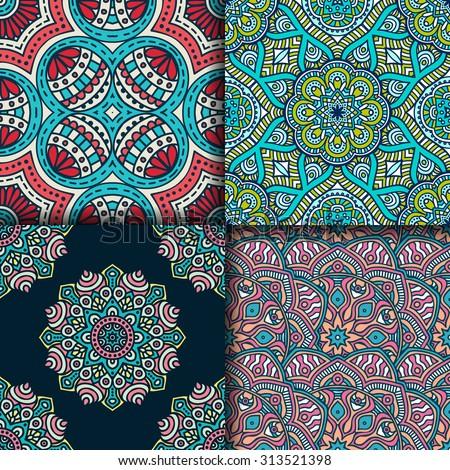 Seamless patterns. Vintage decorative elements. Hand drawn background. Islam, Arabic, Indian, ottoman motifs.