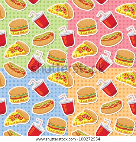 seamless patterns with cartoon pizza, burgers and hot dogs