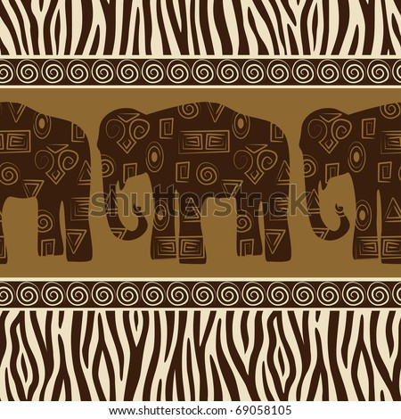 Seamless patterns with elephants and zebra skin.
