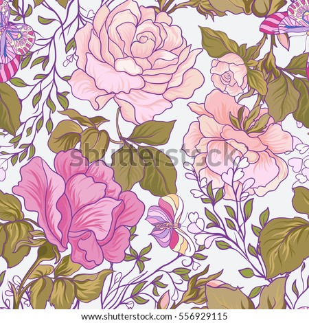 seamless patterns with rose