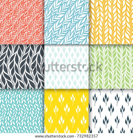 Seamless patterns with stylized colorful branches. Nature universal simple patterns set Hand drawn pattern with decorative floral ornament. Vector illustration