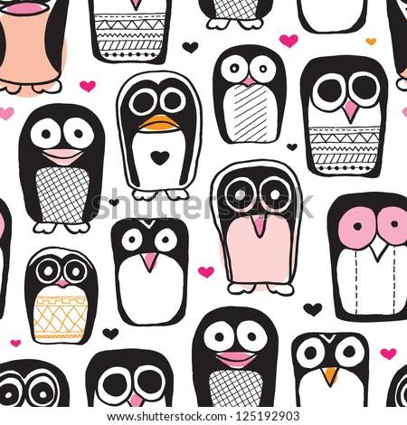 seamless penguin bird