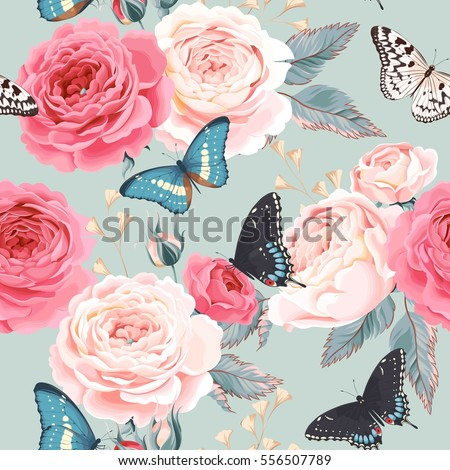 Seamless peony roses and butterfly