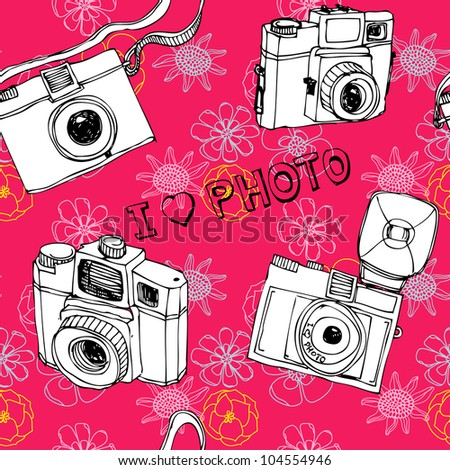 Seamless photo camera colorful pattern in vector