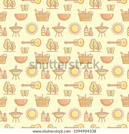 seamless picnic pattern with