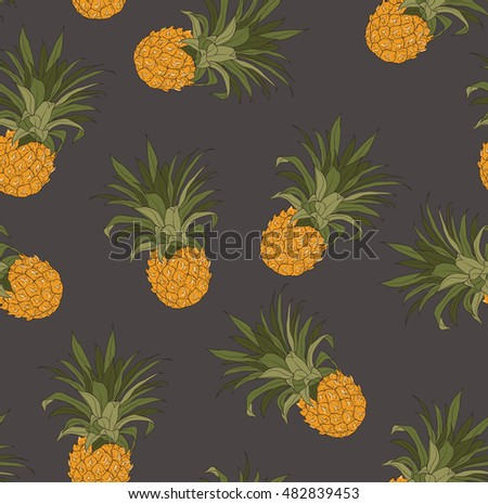 Seamless pineapples pattern background