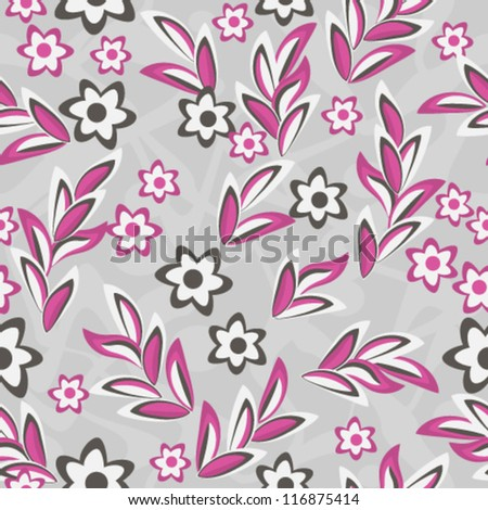Seamless pink and gray floral texture