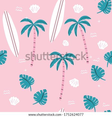 seamless pink and green palm