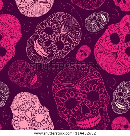 Seamless pink and purple background with skulls