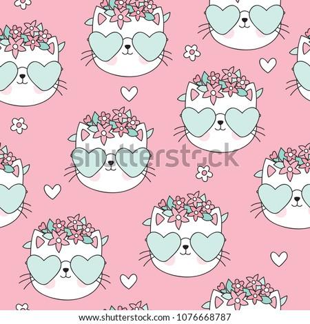 seamless pink cat pattern