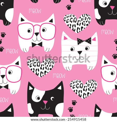 seamless pink cat pattern