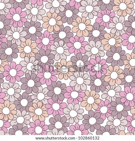 Seamless pink floral pattern. Vector illustration