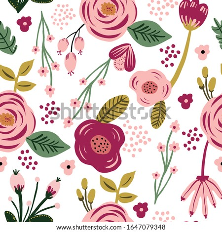 Seamless pink flower floral leaf pattern. Stylish repeating texture. Repeating texture.