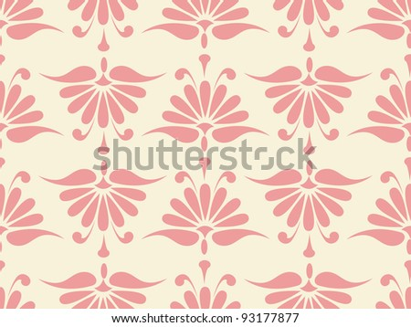 seamless pink flower pattern. Colorful vector illustration - stock vector