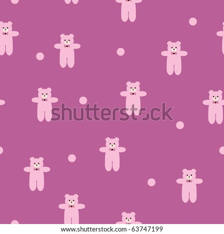 seamless pink pattern with teddy-bear theme - stock vector