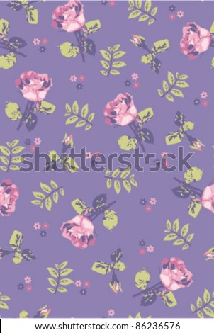seamless pink rose with leaves on purple background