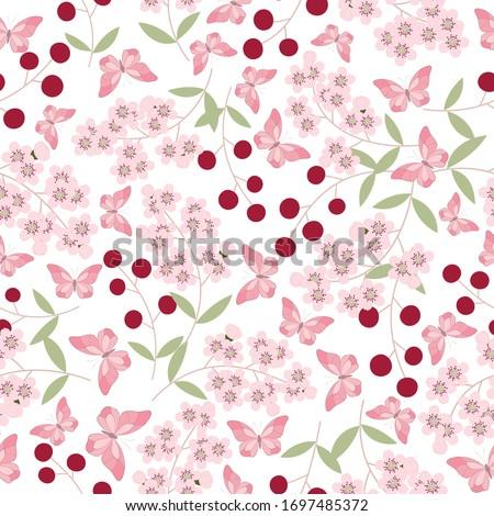 seamless pink sukura flower and