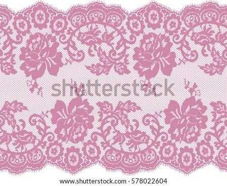 Seamless Pink Vector Lace Pattern
