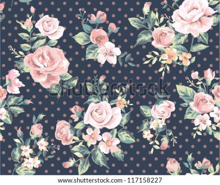 seamless pink vintage flower pattern on navy dot background