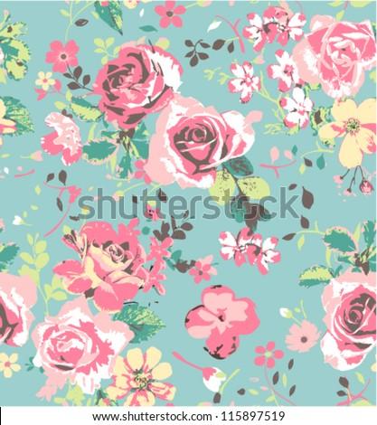 seamless pink vintage rose pattern on green blue background