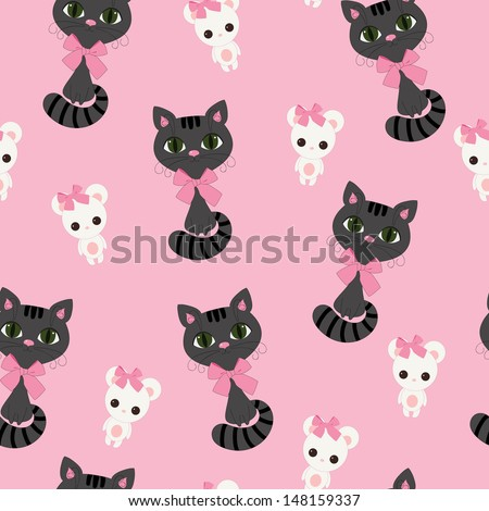 Seamless pink wallpaper with black cat and white mouse