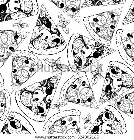 seamless pizza pattern  hand