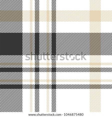 Seamless plaid check patten in palette of black, beige and white. Traditional checkered fabric texture for digital textile printing.