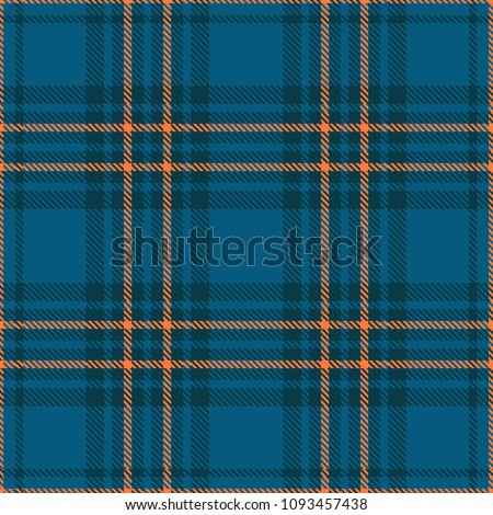 Seamless plaid check patten in teal blue and orange. Classic countryside fashion print.