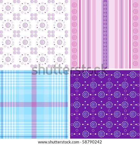 Seamless plaid fabric pattern background. Vector illustration.