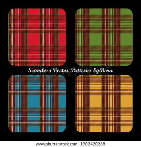 Seamless plaid pattern in vector form. 4 color variants of tartan patterns included as swatches. Convenient for textiles, flannel fabrics, apparel usage. Сток-фото ©