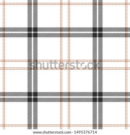 Seamless plaid pattern vector background. Tartan check plaid in brown, orange, and white for flannel shirt, blanket, throw, or other modern textile design.