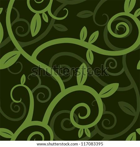 seamless plant pattern   green