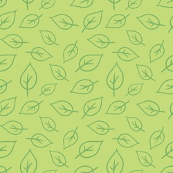 Seamless plant pattern of leaves. Vector illustration.