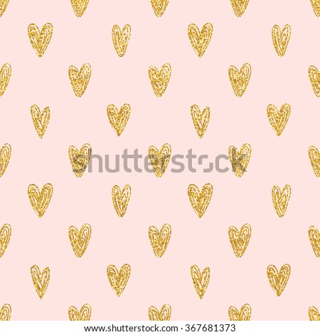 seamless polka dot gold hearts