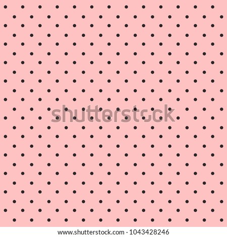 Stock Photo Seamless polka dot pattern. Black dots on pink background