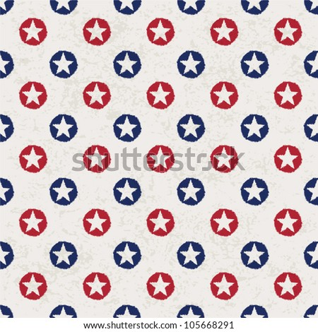 Seamless polka dot pattern with stars in american national flag colour gamut. Vector illustration, EPS 10.