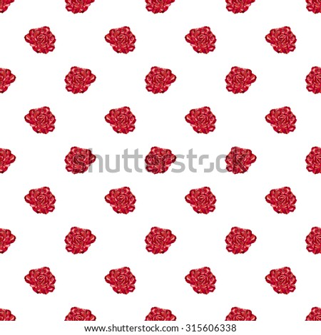 Seamless polygonal pattern of blossomed rose bud of different shades of red on a white background