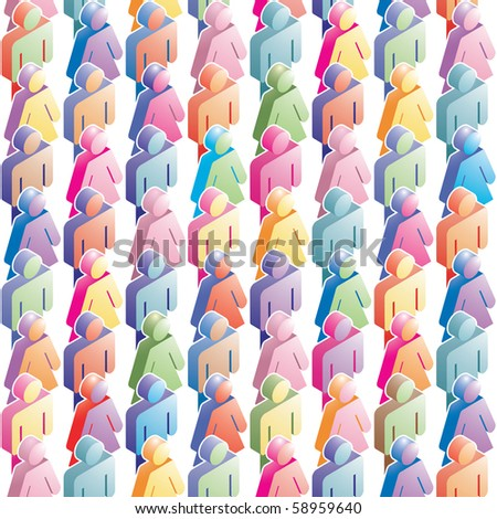 seamless population pattern background with clipping mask
