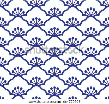 seamless porcelain indigo blue