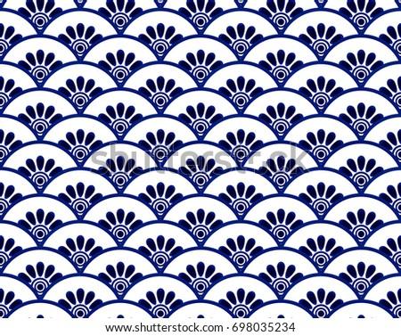 wall of ceramic indigo blue tiles floor ornament vectors download free vector