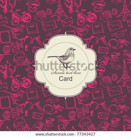 Seamless postal pattern with card label