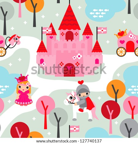 Seamless princess castle and horse retro kids background pattern in vector