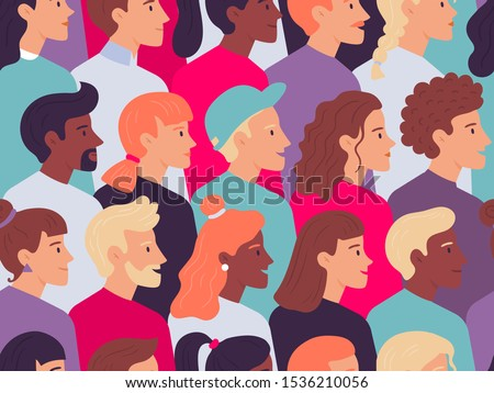 Seamless profile people pattern. Male and female faces side portrait crowd, young person profiles portraits. Various characters wallpaper, social protest demonstration vector illustration